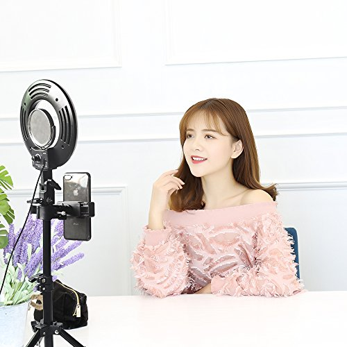 8″ Dimmable LED Selfie Ring Light with Stand,Makeup Mirror and Phone Holder,Camera Photo Video Lighting Kit,24W 5500K Video Tabletop Lights Lamps