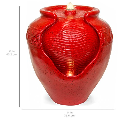 Best Choice Products Indoor and Outdoor Glazed Jar Fountain w/LED Light - Red