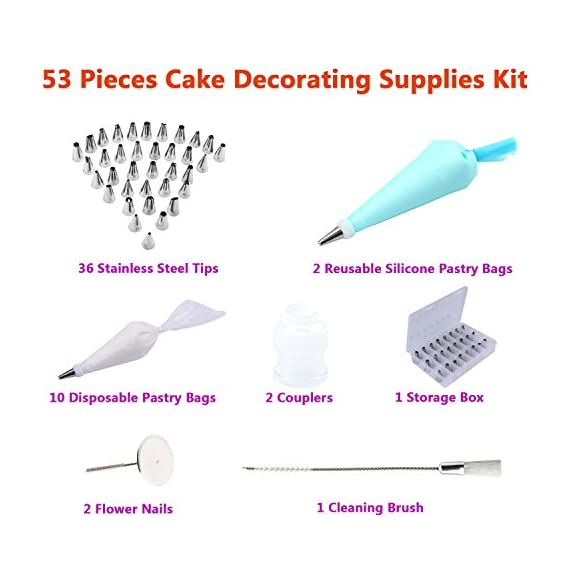 53 Pieces Cake Decorating Kits Supplies with 36 Cake Decorating Tips, 10 Disposable Icing Bags, 2 Silicone Pastry Bags, 2 Flower Nails, 2 Reusable Couplers, 1 Cleaning Brush by THETIS Homes 2 Package includes: 36 stainless steel icing tips + 2 reusable silicone pastry bag + 2 reusable plastic couplers + 2 flower nails + 1 cleaning brush + 10 disposable icing bags for you to create all types of cakes. 0.7 inch in diameter, 1.26 inch tall, made of food-grade stainless steel, long-lasting, corrosion resistant, non-stick, ideal for kids, beginners and professionals. Each tip is numbered to match with the instruction for you to decide which one to use fastly. The icing on the cake includes closed star, open star, french, round, plain, leaf and special. All in a storage case to keep cake decorating kits tool protected in separate chambers and help you to choose one tip quickly.