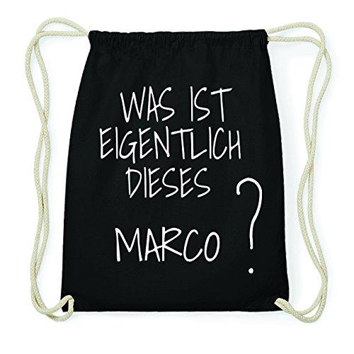 JOllify MARCO Hipster Turnbeutel Tasche Rucksack aus Baumwolle - Farbe: schwarz Design: Was ist eigentlich