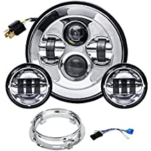 """Liteway Chrome Harley Daymaker 7"""" LED Headlight with 4.5"""" Fog Lights Passing Lamps for Harley Davidson Motorcycles with Adapter Ring, 2 Years Warranty"""