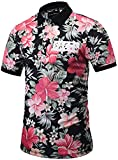 Pizoff Mens Boys Hipster Short Sleeve All Over 3D Floral Print Button Down Breathable Slim Fit Polo-Shirt Y1790-09-S