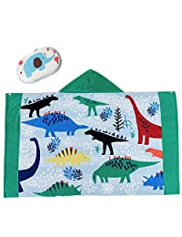FamyFirst Hooded Towel for Boys, Kids Toddler Cotton Hooded Poncho Bath/Beach/Swim/Pool Towel Cartoon Bathrobe for Boys 1-8 Year (Dinosaur)