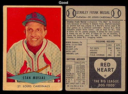 1954 Red Heart Dog Food Regular (Baseball) Card# 23 Stan Musial of the St. Louis Cardinals Good Condition