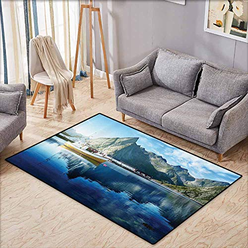 Oversized Floor Rug Farm House Decor Sunset in Norwegian Lake by Fjords Formation Yacht Fishing Arctic Harbor Island Blue Suitable for Outdoor and Indoor use W5'2 xL4'6