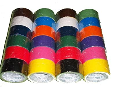 "24 Roll Variety Pack Solid Colors (brights and regular colors) of All Purpose Duct Tape. Brights Include: green, blue, orange, purple, yellow and pink. Regular colors include: brown, white, black, green, red, and blue. All solid color rolls are 1.89""x 10"