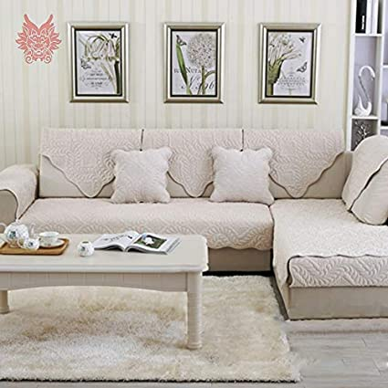 Amazon Com Zoomy Far Beige Grey Floral Quil Plush Sofa Cover Slip