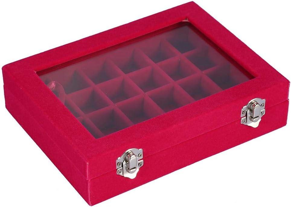 2 colores 24 caja de diamantes de imitación de rejilla, caja de almacenamiento, decoraciones de arte de uñas vacías anillos de joyería caja de joyas de cuentas de(Rosa roja)