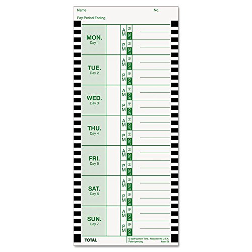 Lathem Weekly Thermal Print Time Cards, Single Sided, for Lathem 800P Time Clock, 9