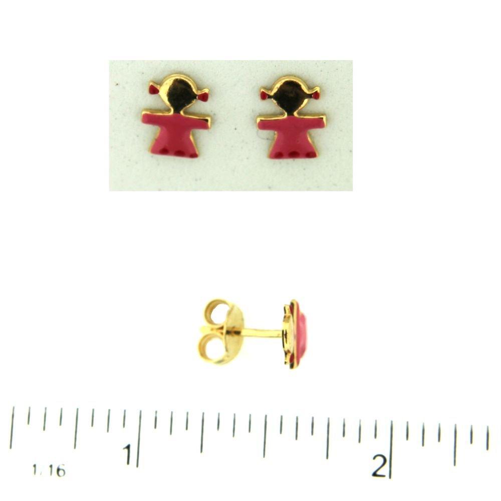 18K Yellow Gold Pink Enamel Girl Post Earrings 8mm X 7mm