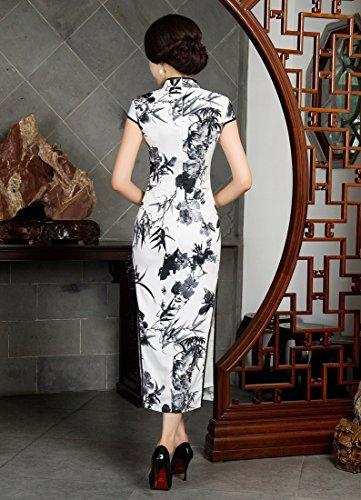 Colleto Maniche Cinese e Corte Forma Vestito Bianco Goccia a YueLian nero Lungo con di a q0EIEHcw