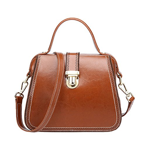 DISSA VQ0888 Damen Leder Handtaschen Satchel Tote Taschen Schultertaschen Braun