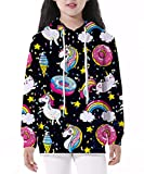 Gludear Boy Girl Cute 3D Unicorn Print Sweatshirts Pocket Pullover Hoodies,Donut,XL