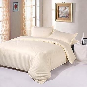 EsyDream Bedding Sets 5 Pieces,White Color Cotton Satin Duvert Cover  Sets,1Pc