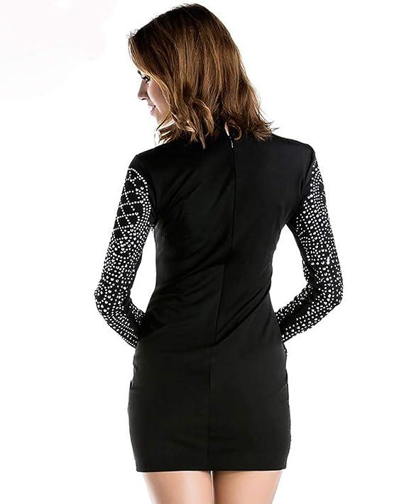 ead31158 Amazon.com: Miss ord Women's Long Sleeve High Neck Bodycon Tight Casual  Mini Dress: Clothing