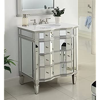 "30"" Mirrored w/silver trim Bathroom Sink Vanity Cabinet - Ashley Model # BWV-025/30"