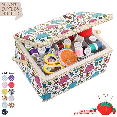 Medium Sewing Basket Organizer with Complete Sewing Kit Accessories Included - Wooden Sewing Box Kit with Removable Tray and Tomato Pincushion for Sewing Mending - White