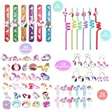 66 Pack Unicorn Party Favors Supplies,Wristband,Keychains,Swirly Straws,Clips and Stickers,Kids...