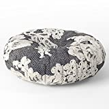 Society6 Black And White Lace- Photograph Of Vintage Lace Floor Pillow Round 26'' x 26''