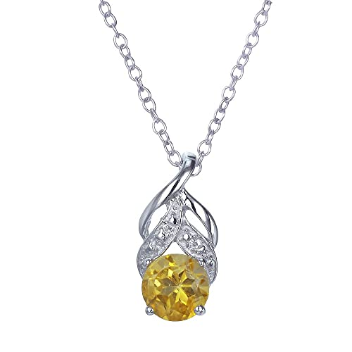 Sterling Silver Citrine Pendant 3 4 CT With 18 Inch Chain