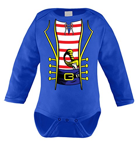 Pirate Costume Long Sleeve Bodysuit (18 Months, ROYAL (Human Body Suit Costume)