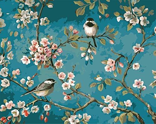 Fuumuui Lienzo de Bricolaje Regalo de Pintura al oleo para Adultos ninos Pintura por numero Kits Decoraciones para el hogar -Flores y pajaros 16 20 Pulgadas