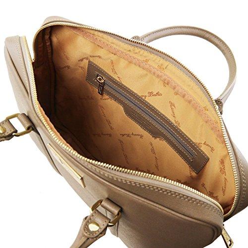 Tuscany Leather Prato - Elegante porta folios y porta ordenador portátil en piel Saffiano - TL141626 (Negro) Dark Taupe