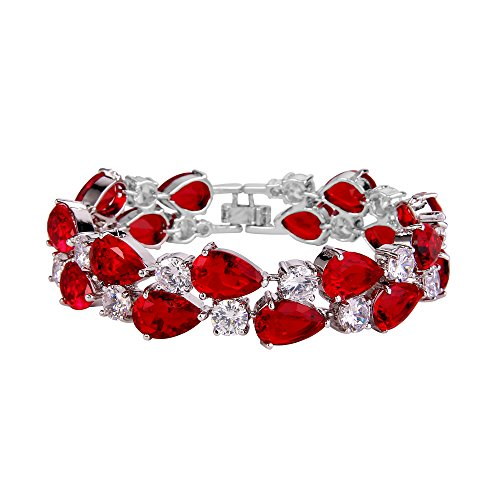 EVER FAITH Women's Prong Cubic Zirconia Vintage Style Dual Layer Tear Drop Bracelet Red Silver-Tone