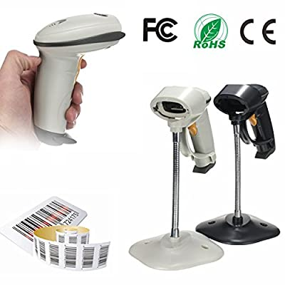 Automatic Barcode Scanner USB Laser Scan Bar Code Reader With Stand Handheld POS (Random: Color)