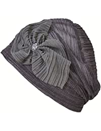 c15567e015d Casualbox Charm Womens Flower Ribbon Shirring Beanie Hat Summer Light  Cooling Classy Ladies Fashion