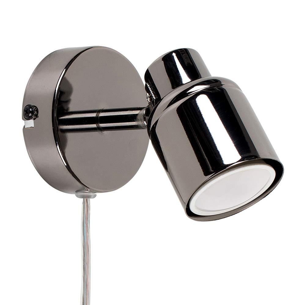 MiniSun – Faretto moderno, singolo ed elegante con una finitura cromata spazzolata ed un cavo, una spina ed un interruttore – Lampada da parete/da soffitto MiniSun - Faretto moderno