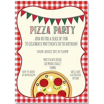 Amazon Com Birthday Party Invitation Slice Of Fun Pizza Party