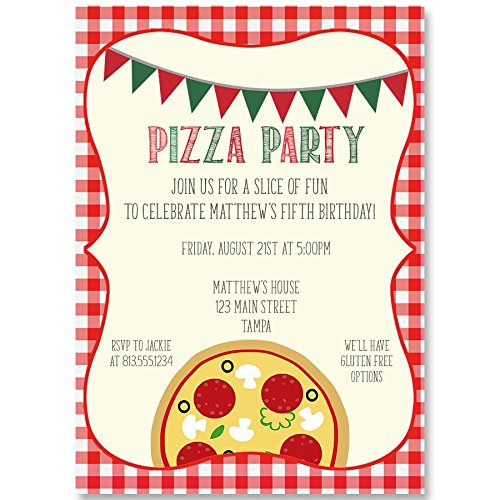 Birthday Party Invitation, Slice of Fun, Pizza Party, Pizza Birthday Party Invite, Off-White, White, Red, Green, Gingham, Set of 10 Custom Printed Invites with Envelopes