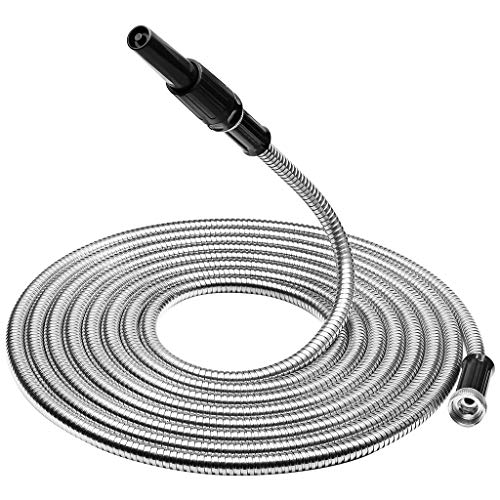 Finether 304 Stainless Steel Garden Hose, Heavy Duty Metal Watering Hose, Flexible Garden Water Hose Pipe with Free Spray Nozzle, Lightweight, Kink, Tangle, Puncture Proof, 25 ft ()