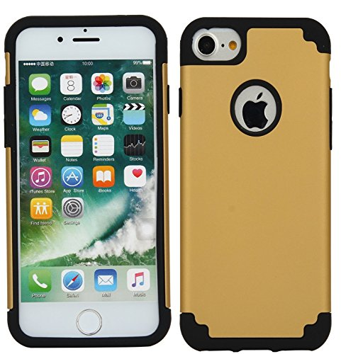 iPhone 7 Case, CaseHQ Slim Extreme Impact Protection Heavy Duty Dual layer PC Rugged Bumper Drop Protection Scratch Resistant Case for Apple iPhone 7 2016 Release gold/back (Cable Usb Gold Certified 20)