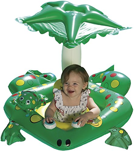 Poolmaster 81555 Learn-to-Swim Swimming Pool Float Baby Rider with Sun Protection, Frog