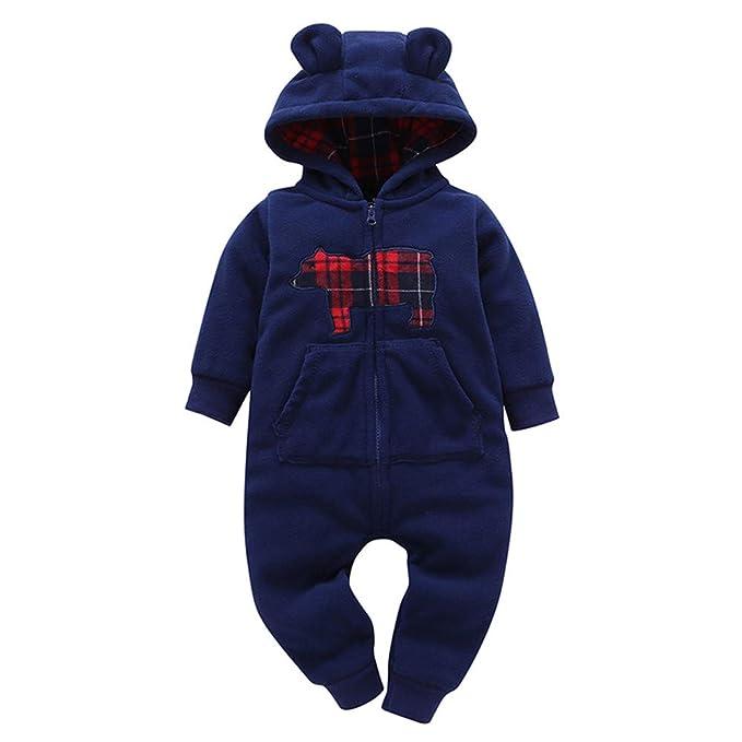 ❤ Conjunto con Capucha para bebé Felpa, bebé bebés niñas más Grueso Estampado Mameluco con Capucha Jumpsuit Outfit Ropa para niños Absolute: Amazon.es: ...