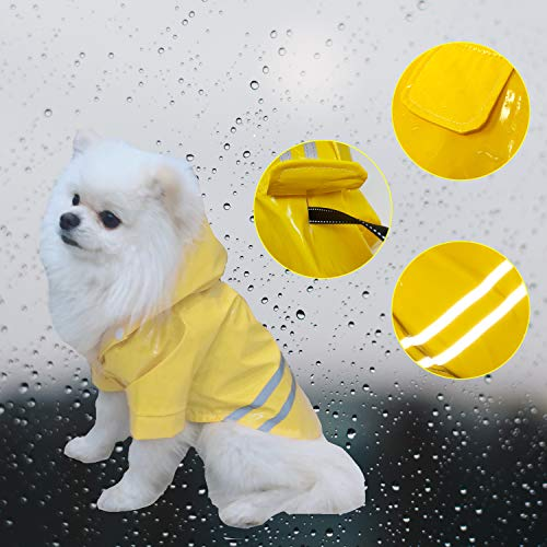 (Cutie Pet Dog Raincoat Waterproof Coats for Dogs Lightweight Rain Jacket Breathable Rain Poncho Hooded Rainwear with Safety Reflective Stripes (M, Yellow))