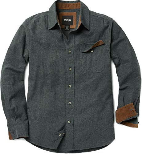 Men Flannel Thermal - CQR Men's Flannel Long Sleeved Button-Up Plaid All-Cotton Brushed Shirt, Solid(hof113) - Grey, Medium