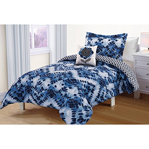 DP 3pc Girls Navy Blue White Watercolor Shibori Comforter Set Twin, Light Blue Batik Printed Abstract Brush Stroke Pattern, Lattice Geometric Blue White Kids Bedding, (Batik Printed)