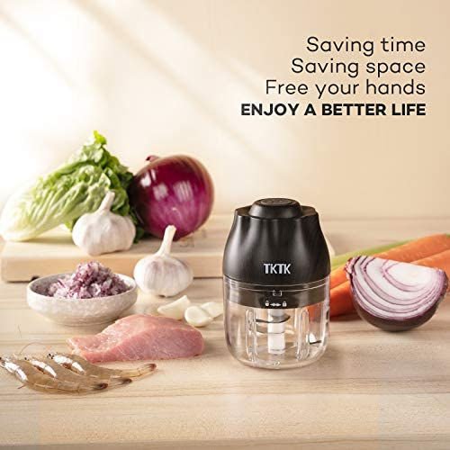 Electric Food Chopper, TKTK Mini Food Processor Wood Grain Garlic Chopper with 2 Blades, Rechargebal & Cordless Meat Chopper No Need Press All the Time, for Chop Onion Garlic Meat Baby Food (250ML)