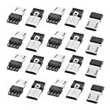 uxcell 10 Pcs Micro USB Male Type B 5-Pin Jack Port Solder Connector