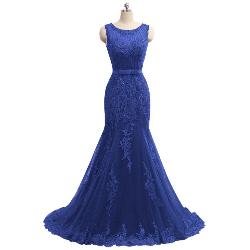 bluee Aishanglina RoundNeck Shoulder Strap Slim Body Line Evening Prom Dress for Women