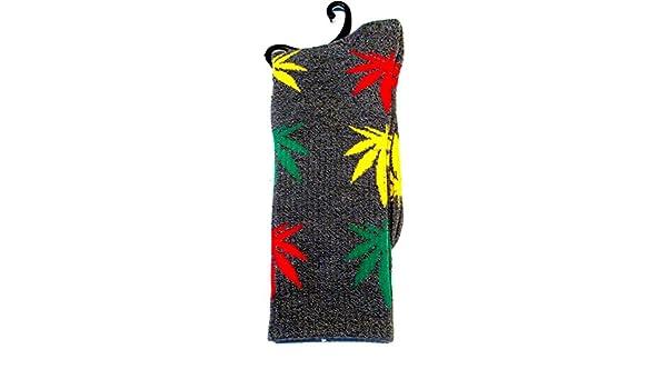 Calcetines Weed marihuana diseño gris con rojo oro verde hojas: Amazon.es: Iluminación