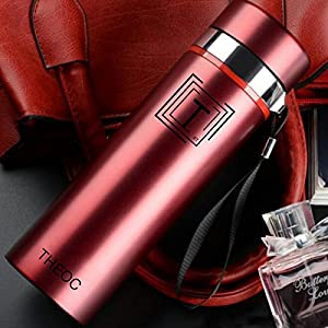 THEOC Fashionable Stainless Steel Water Bottle Insulated Vacuum High Luminance 450ml Water Bottle, Wide Mouth, BPA Free -Red
