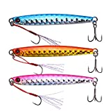 Goture Lead Vertical Jig Saltwater Jigging Lures 2.12 oz Fishing Lure Artificial Bait (Pack of 3)