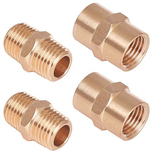 WYNNsky Metals, Brass Pipe Fittings, Hex Nipple Brass Tone, 2PCS 1/4