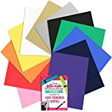 100% Authentic SISER EasyWeed Heat Transfer Vinyl, 12 Inch x 15 Inch Top 12-Color Assorted Starter BUNDLE with Guide