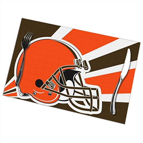 Marrytiny Custom Colourful Placemats Heat Resistant Table Mats Cleveland Browns Football Team 100% Polyester Dining Table Set of 6 Kitchen Coffee Mat 12 x 18 Inch
