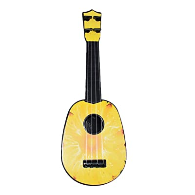 FunDiscount Classic Ukulele, 15 Inch Professional Wooden Ukelele Instrument Cute Love Music Toys Small Hawaiian Musical Guitar Wood Starter Uke Hawaii Kids Guitar for Beginners Students (Pineapple)
